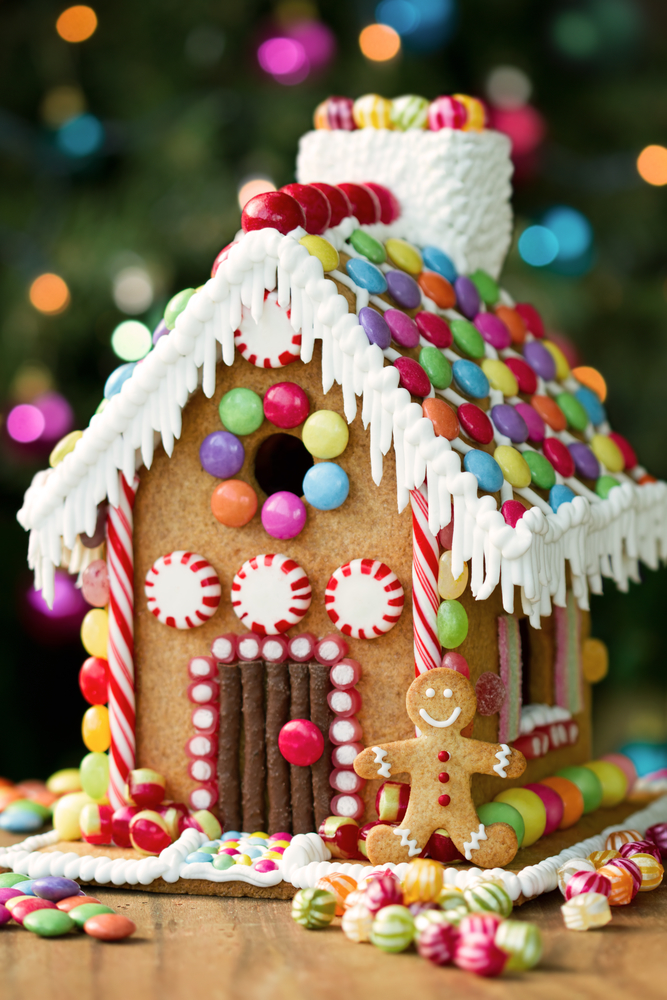 leftover Halloween candy gingerbread house