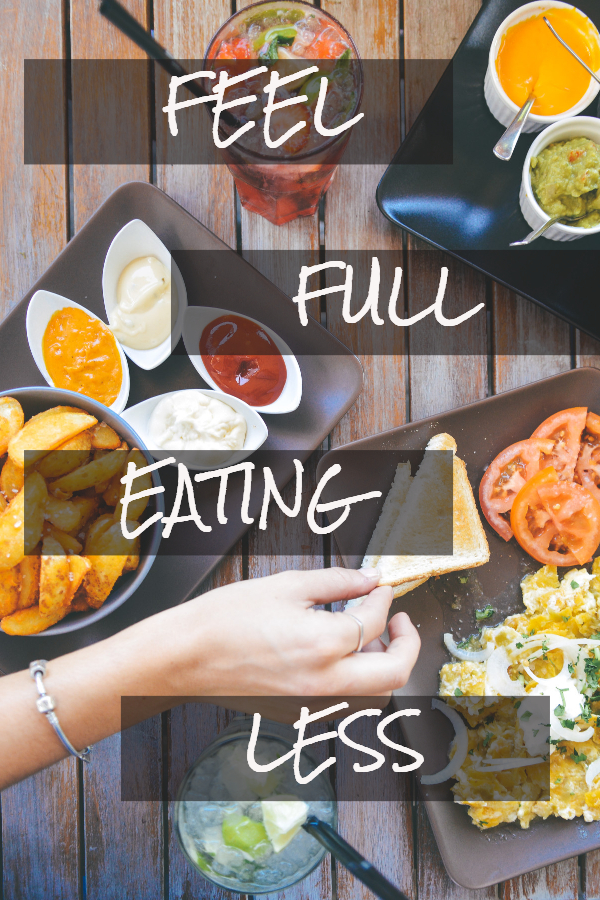 Lose weight by feeling full and eating less (weight loss tricks/ eat slower/ water for weight loss/ ways to feel less hungry on a diet/ stomach growling/ so hungry/ can't stop craving food/ end food cravings/ stop emotional eating/ get control of your eating/ eat less calories/ cut calories/ low-cal foods)