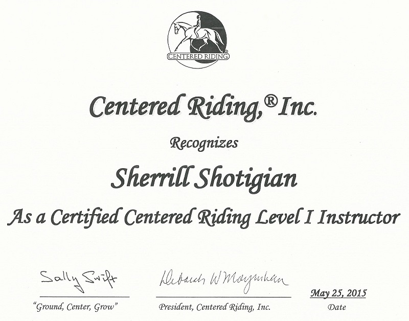 Sherrill Shotigian Centered Riding Instructor Certificate