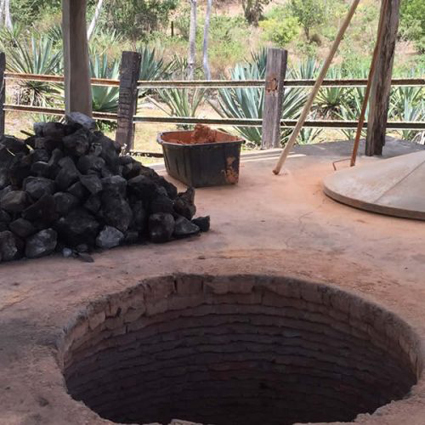 Fire-pit oven. The lid is in the right background