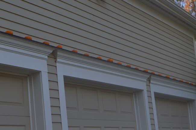 Pumpkins on the garage