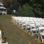 aisle of the rustic wedding ceremony