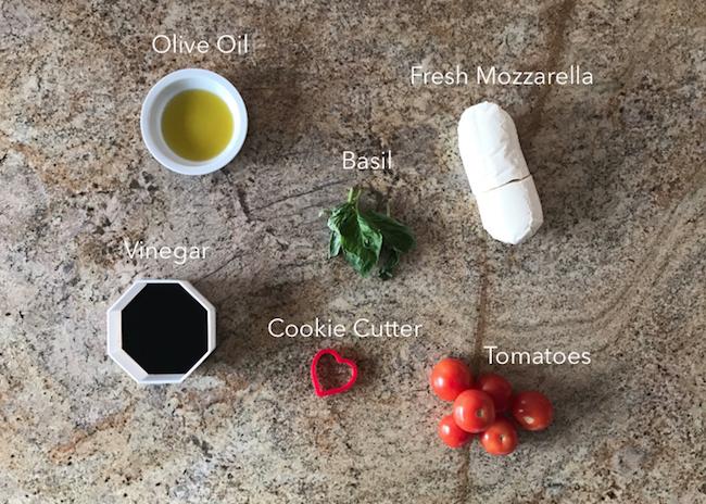 Valentine's Day Caprese salad ingredients