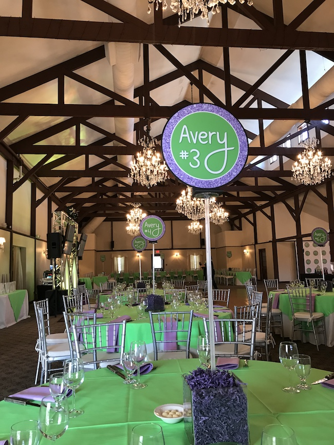 Purole and Green Color Schemed Bat Mitzvah Party