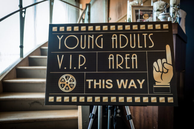 Directional sign leading to VIP area
