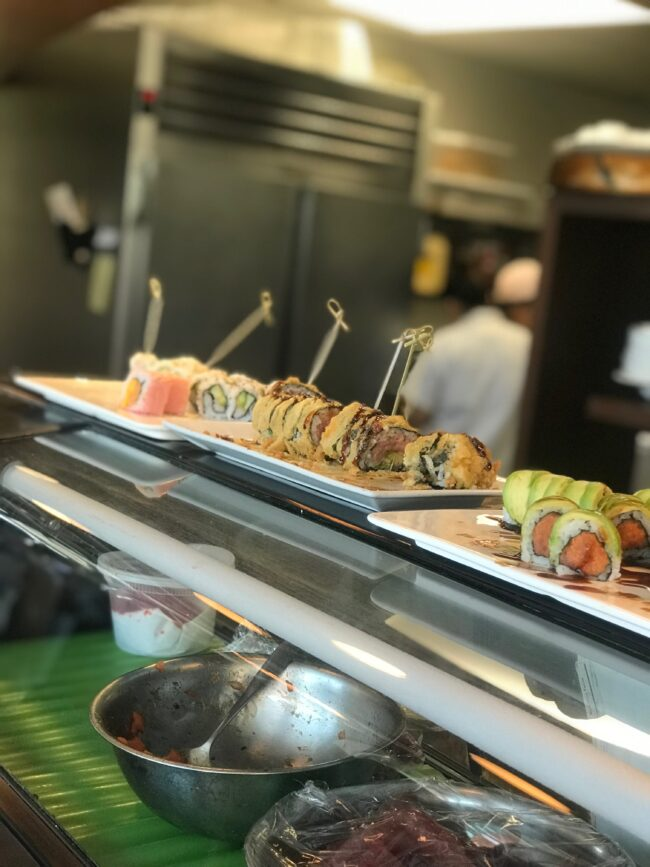 Adult cocktail hour sushi