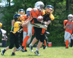 Orangeville Outlaws defender, Gabriel Merkac, knocks down a Clarington Knights pass during Sunday's (June 25) OPFL Bantam game at Westside Secondary School in Orangeville. The Outlaws blanked the Knights 14-0 to even their record to 3-3 for the season.