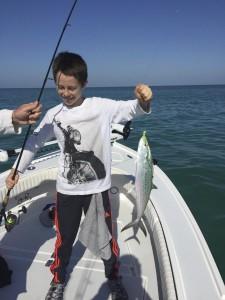 Mackerel caught by a happy angler