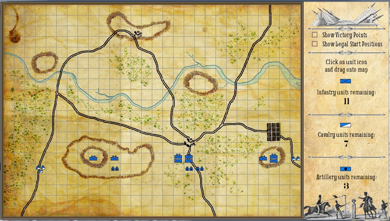 Screenshot of placing your units on the map before battle.