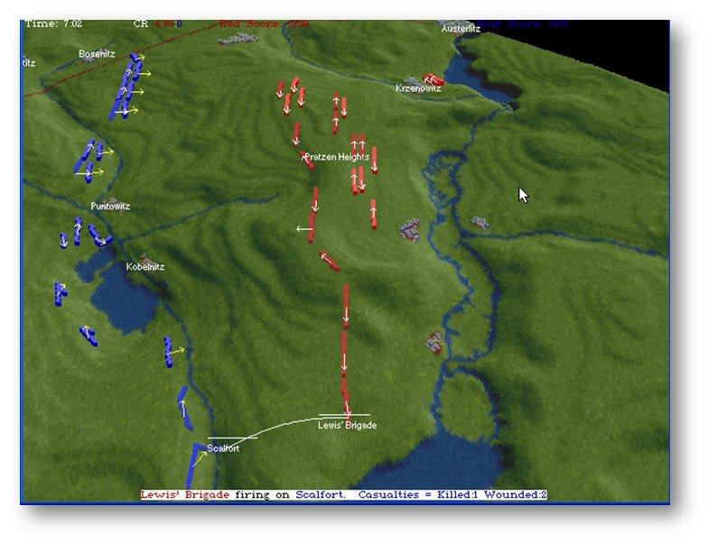 Screen shot (MS DOS) of the Austerlitz scenario in The War College. Click to enlarge.
