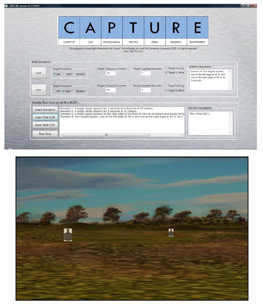 Two screens showing the CAPTURE program. The top screen shows the interface for creating target scenarios. The bottom screen is one of the the shooting ranges generated by CAPTURE. Click to enlarge.
