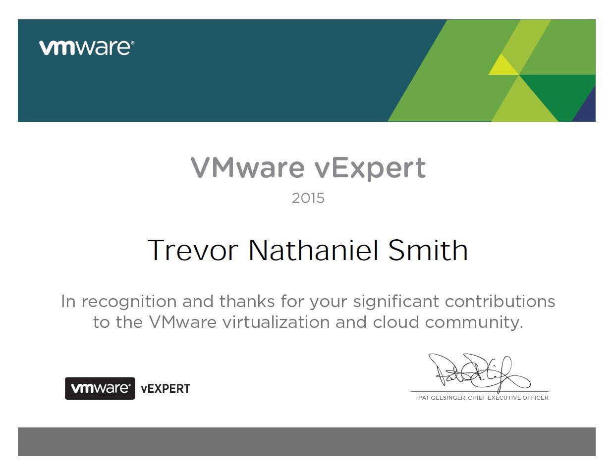 vExpert 2015 -Trevor