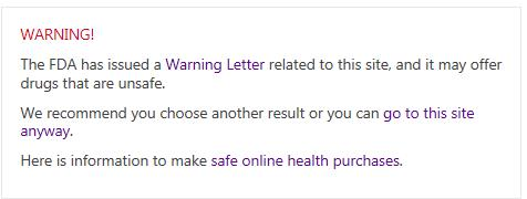 FDA Online Pharmacy Warning