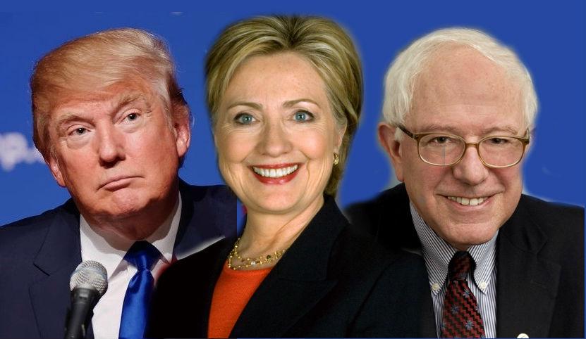 Donald Trump, Hilary Clinton and Bernie Sanders