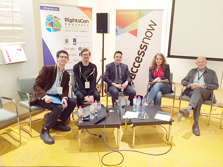 RightsCon: Defending consumer rights to affordable medication on the Internet (left to right: Gabriel Levitt, Jeremy Malcom, Andrew Goldman, Burcu Kilic, Paul Zickler)