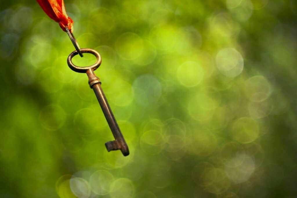 a dangling old-fashioned key