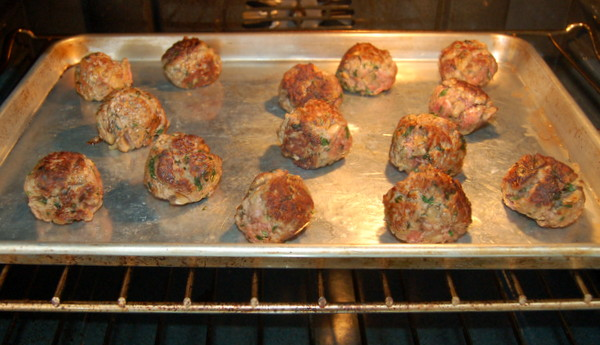 Finish cooking meatballs in 350 degree oven for about 15 minutes.