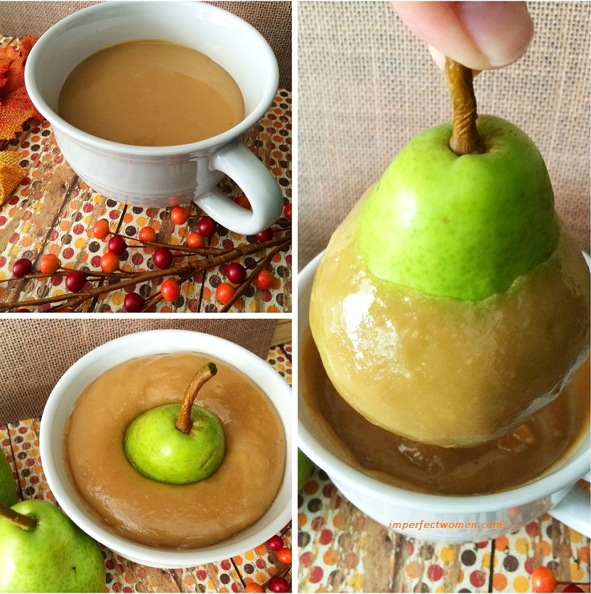 Making caramel covered pears