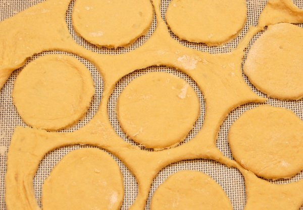 Cut dough out using a 3 inch cookie cutter, or if you don't have one, use a 3 inch glass.