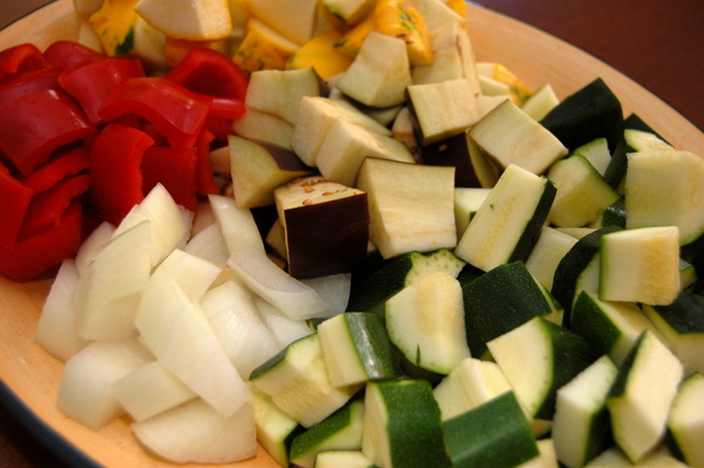 grilled veggies all cut up