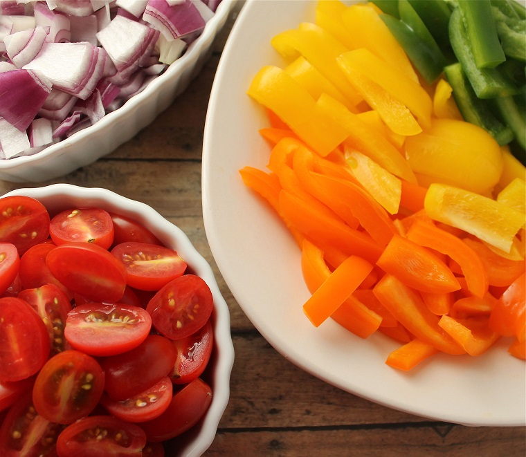 """Red grape tomatoes and a purple onion completed the """"rainbow."""""""