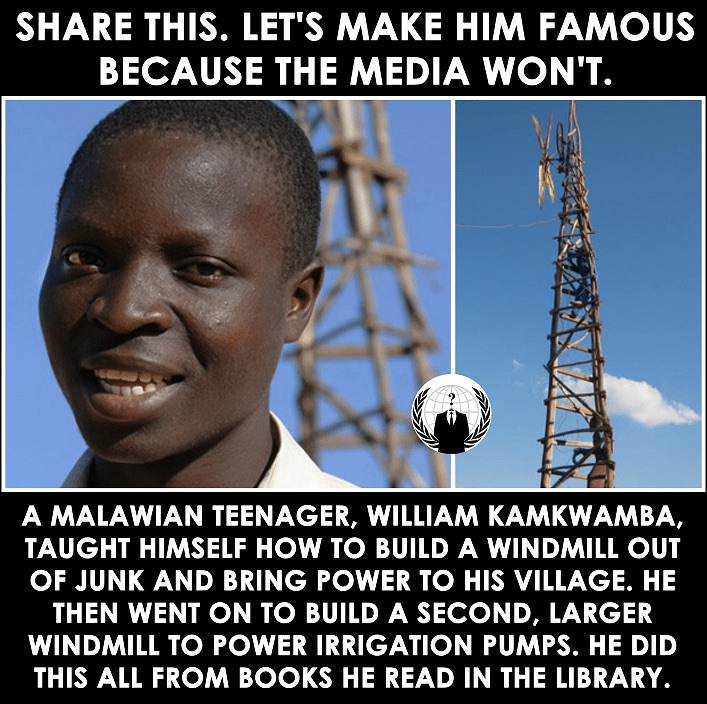 Malawian Teen Taught Himself How To Build A Windmill From Junk, Brought Power To His Village, ALL Learned From Library Books! 1