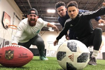 Dude Perfect take on the F2 in new Football vs Soccer Trick Shots Video