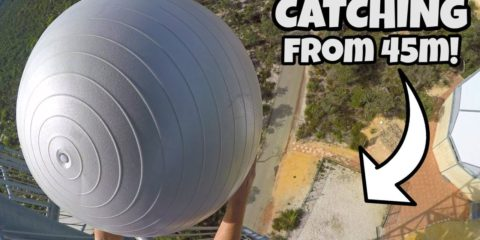 How Ridiculous - Catching Exercise Balls from 45m!