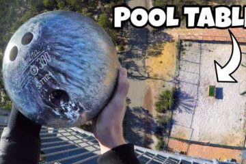 How Ridiculous - BOWLING BALL Vs. POOL TABLE from 45m!