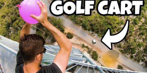 How Ridiculous: Dodging Water Balloons in Golf Cart from 45m