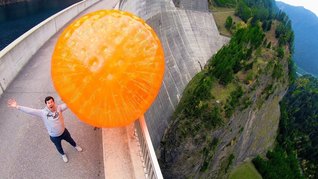How Ridiculous: ZORB BALL MAGNUS EFFECT from 165m Dam!