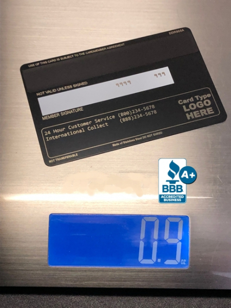 how much does a metal credit card weigh