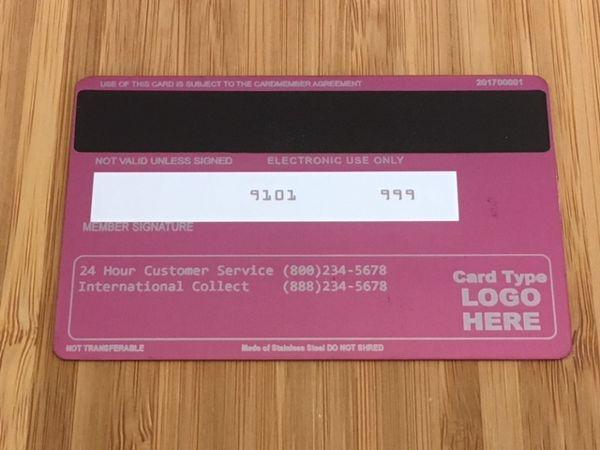 Pink metal credit card template #2 Back