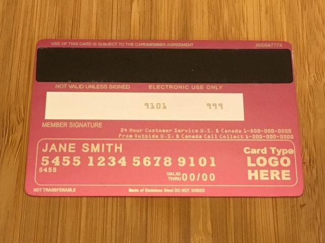 Pink metal credit card (Back)