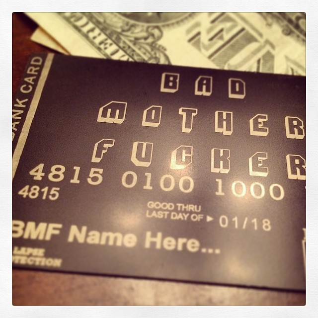 bad mother fucker wallet metal credit card