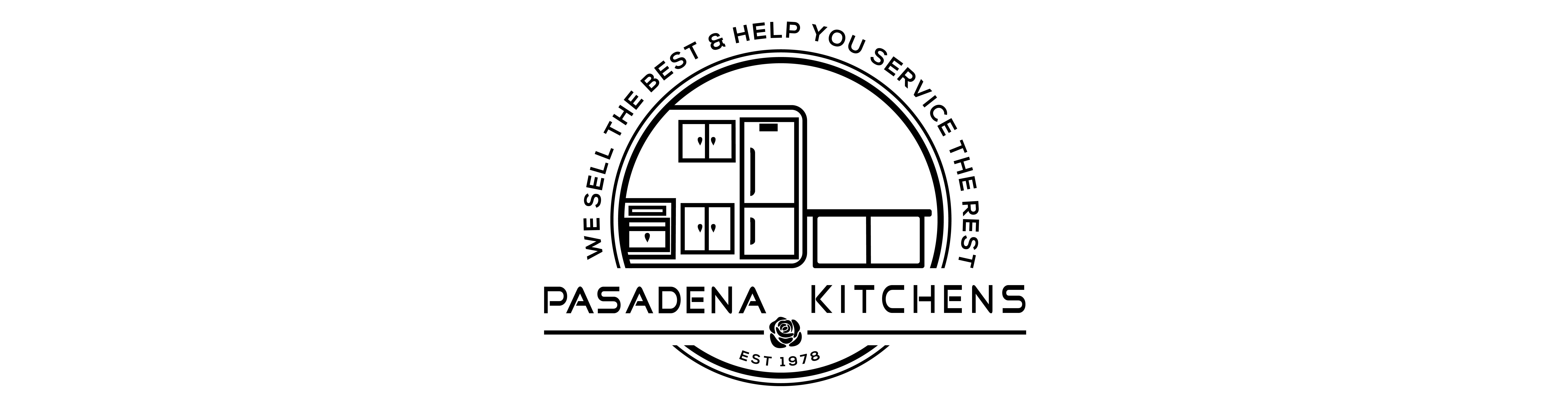 """Pasadena Kitchens, Inc. """"We sell the best & help you service the rest!"""" Logo"""