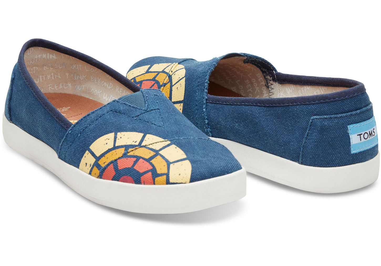 TOMS + CTAOP Women's Navy Washed Avalon Slip-Ons