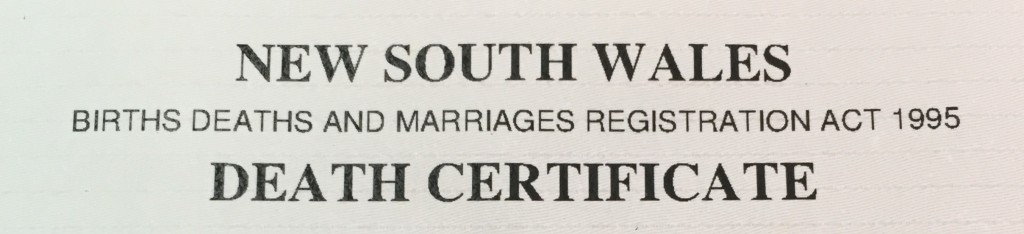 Births Deaths and Marriages Death Certificate