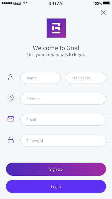 Simple Sign Up Page Xamarin.Forms XAML
