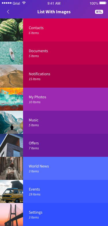 List With Images Page Xamarin.Forms XAML