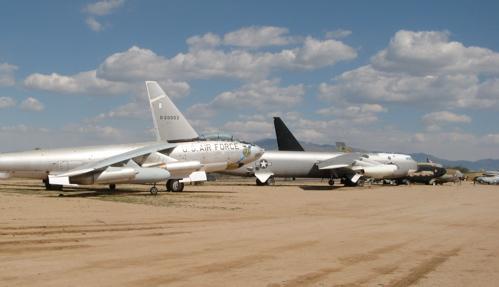 Bomber Row at Pima — B-47 in front of three B-52s