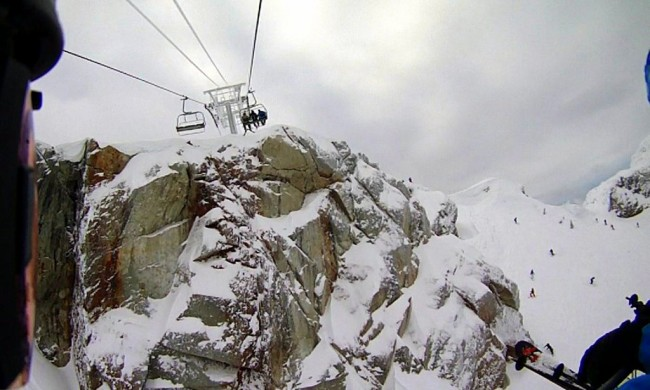 Heading up the Peak Express lift at Whistler.