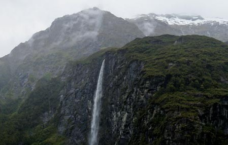 Waterfalls, peaks around Rob Roy Glacier in Mt. Aspiring NP.