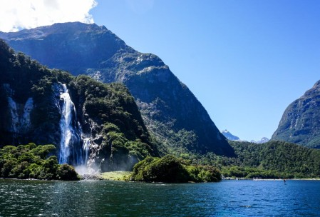 Bowen Falls near the Milford Sound port.