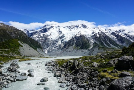 Hooker River in Mt. Cook NP.
