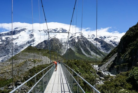 Swing bridge heading toward Mt. Cook