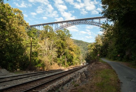 There were train tracks under the bridge, but after searching for several hours, I could find no trolls.