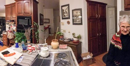 Panoramic view of my parents' kitchen.