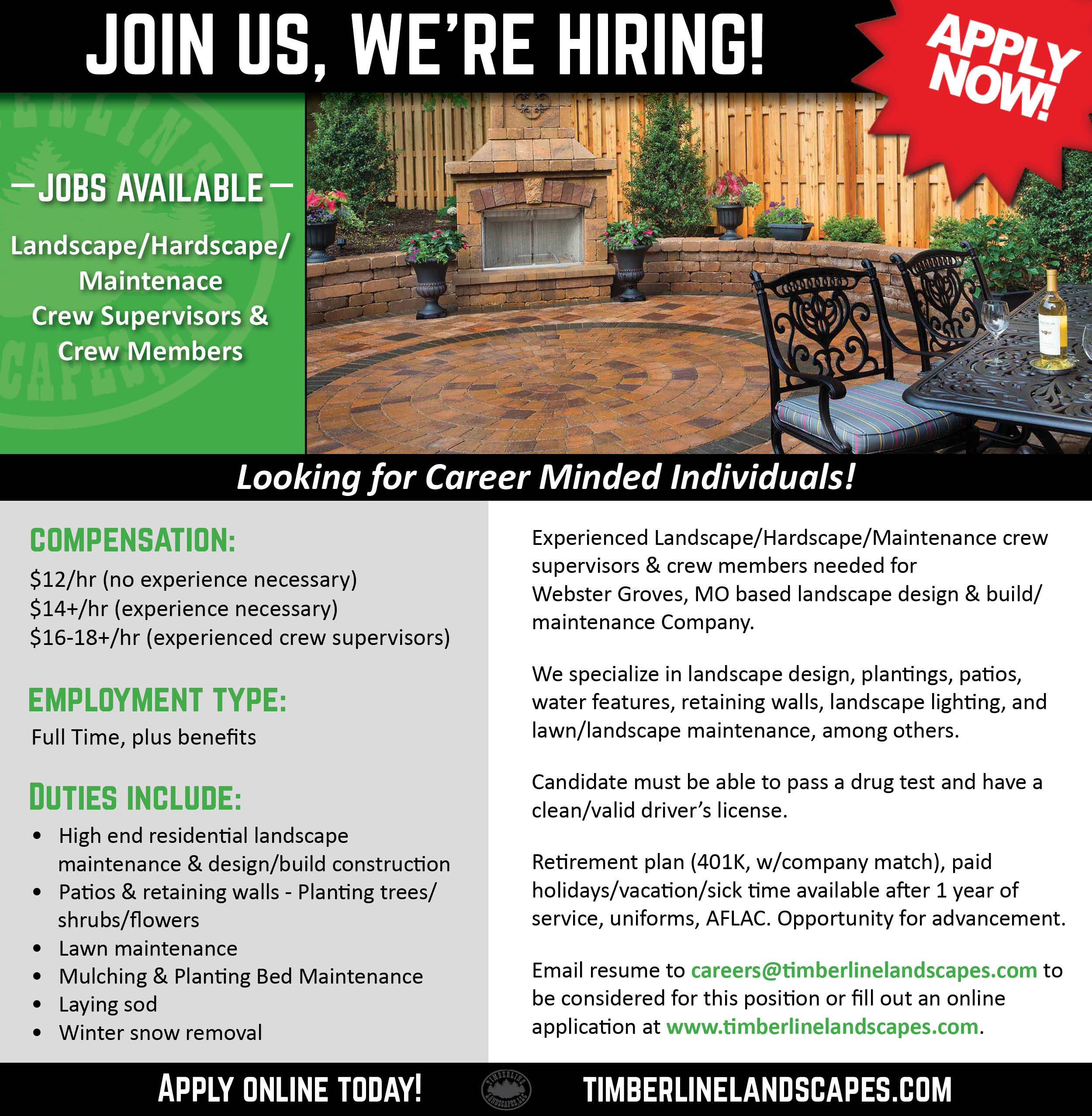 Join the Timberline Team! Apply Now.