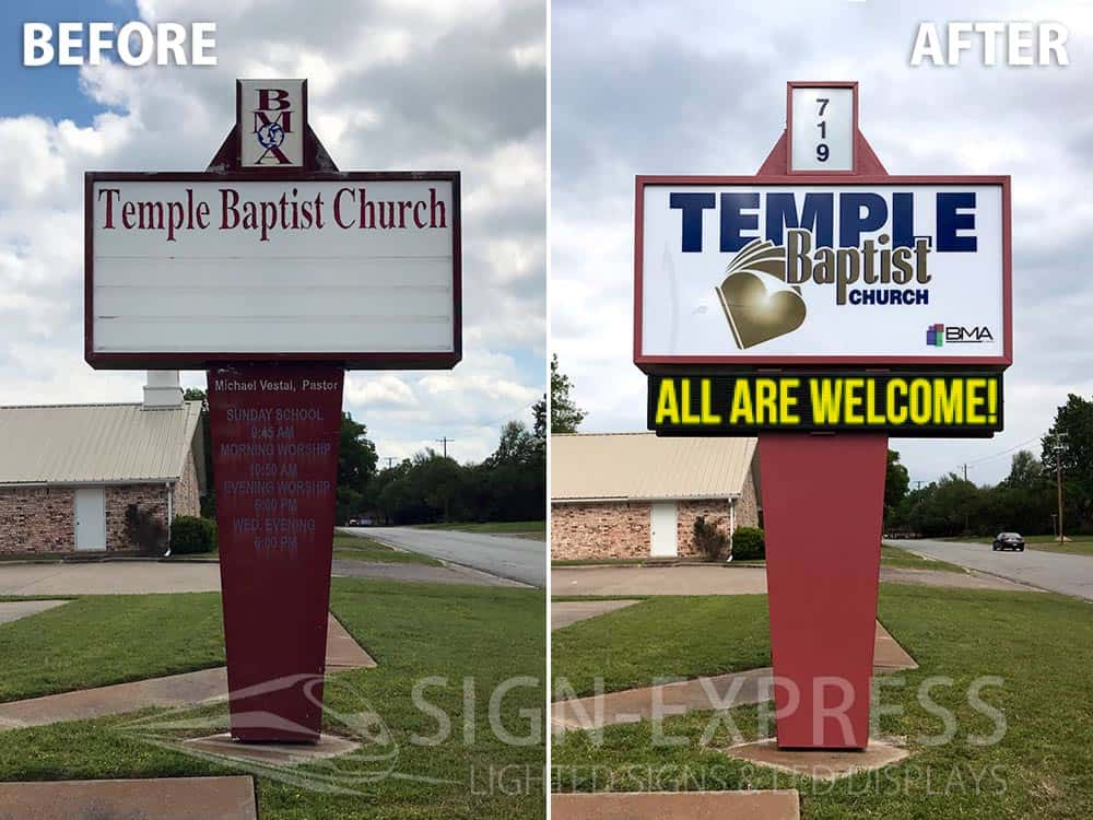 Temple Baptist Church Sign Installation by Sign-Express